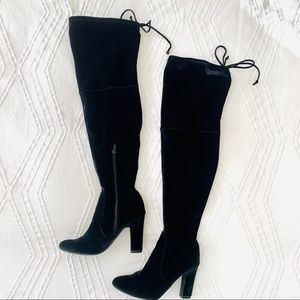 Black Velvet Over the Knee Boots